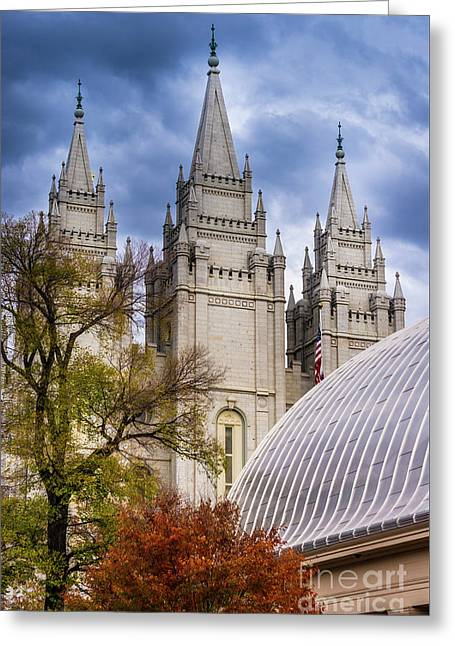 Salt Lake Lds Temple And Tabernacle - Utah Greeting Card by Gary Whitton