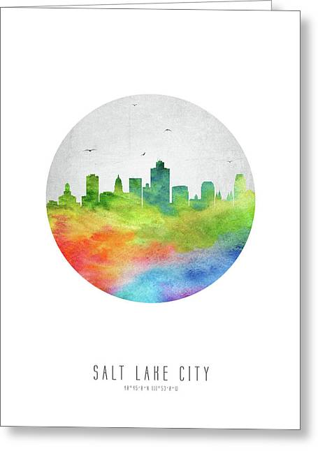 Salt Lake Skyline Usutsl20 Greeting Card by Aged Pixel