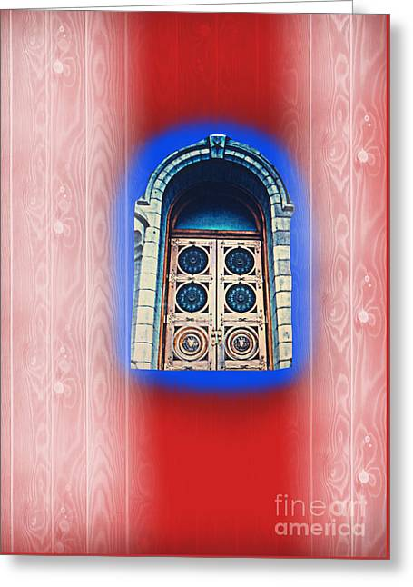 Salt Lake Temple Doors 1 Greeting Card by Richard W Linford