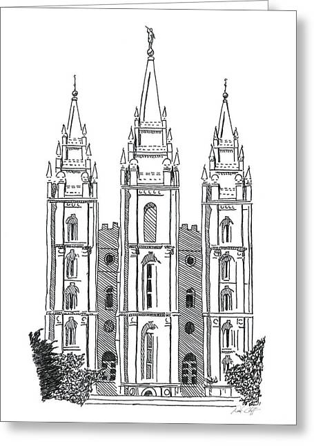 Salt Lake Temple Ink Drawing Greeting Card by DSC Arts