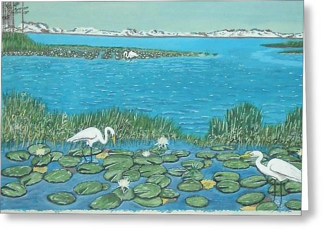 Greeting Card featuring the painting Salt Marsh Egrets by Hilda and Jose Garrancho