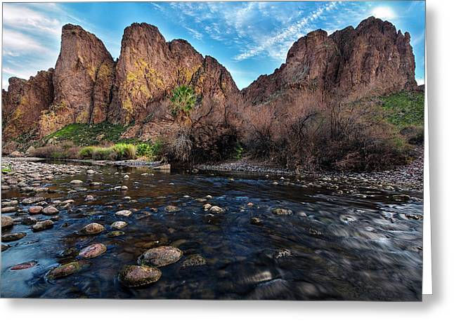 Greeting Card featuring the photograph Salt River And The Goldfield Mountains by Dave Dilli