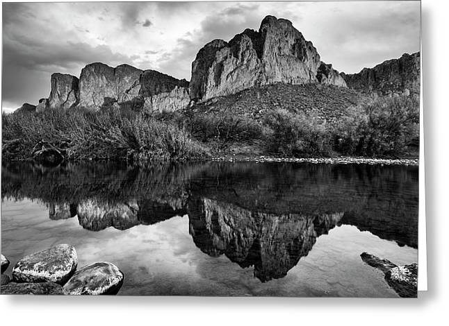 Greeting Card featuring the photograph Salt River Reflections In Black And White by Dave Dilli