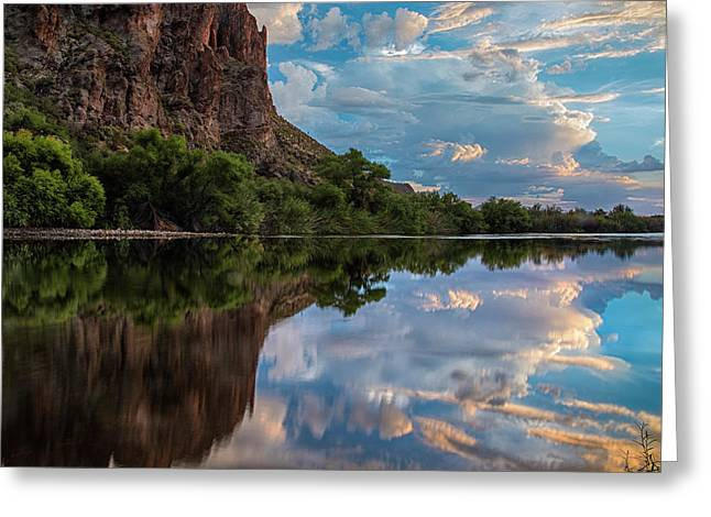 Greeting Card featuring the photograph Salt River Sunset Reflections by Dave Dilli