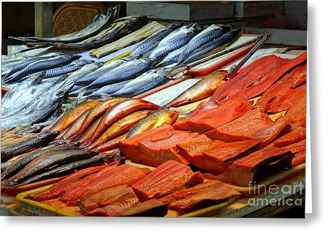 Greeting Card featuring the photograph Salted And Preserved Fish by Yali Shi