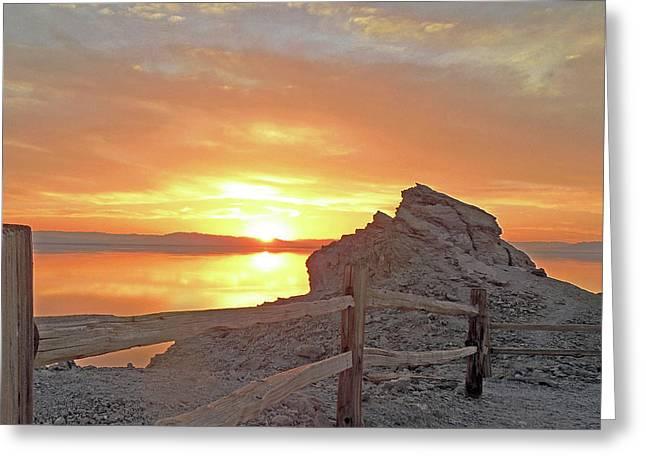 Salton Sunset  Greeting Card by Andrew Syiek