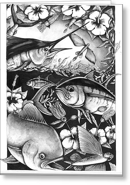 Saltwater Collage Greeting Card by Jacqueline Endlich