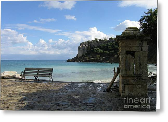 Salty Greek Port In Autumn  Greeting Card by Clay Cofer