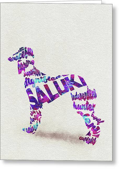 Greeting Card featuring the painting Saluki Dog Watercolor Painting / Typographic Art by Ayse and Deniz