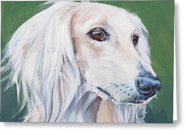 Greeting Card featuring the painting Saluki Sighthound by Lee Ann Shepard