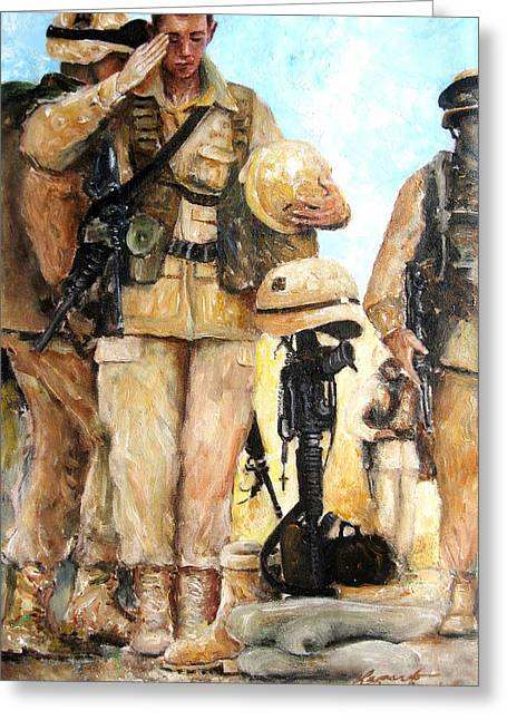 Iraq Paintings Greeting Cards - Saluting The Fallen Greeting Card by Leonardo Ruggieri