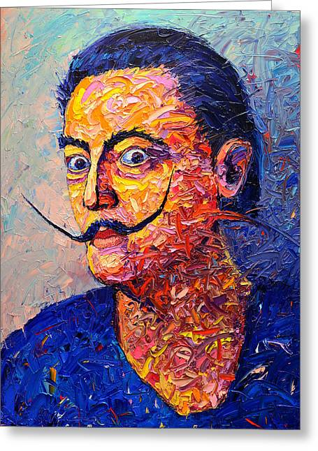 Salvador Dali Contemporary Impasto Palette Knife Oil Painting Portrait By Ana Maria Edulescu Greeting Card by Ana Maria Edulescu