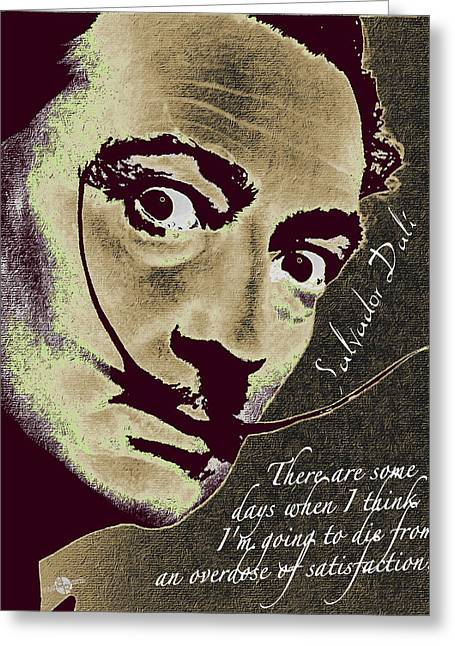 Salvador Dali Pop Art Painting And Signature With Quote Greeting Card by Tony Rubino