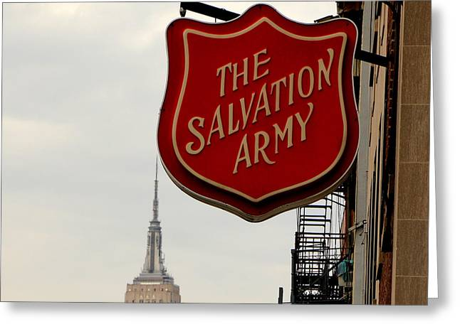 """salvation Army"" Greeting Cards - Salvation Army New York Greeting Card by Andrew Fare"
