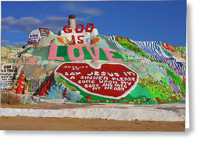 Greeting Card featuring the photograph Salvation Mountain by Matthew Bamberg