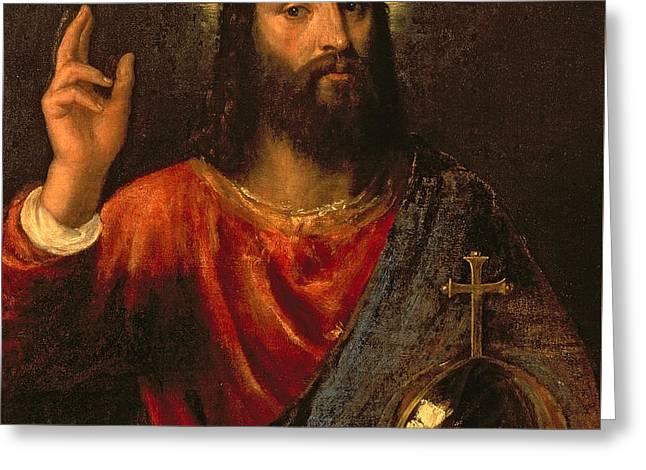 Salvator Mundi, Saviour Of The World Greeting Card