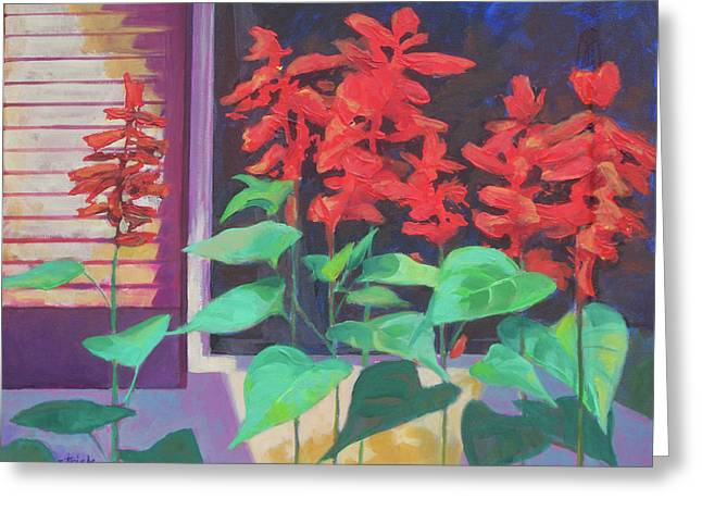 Salvia In The Windowbox Greeting Card by Carol Strickland