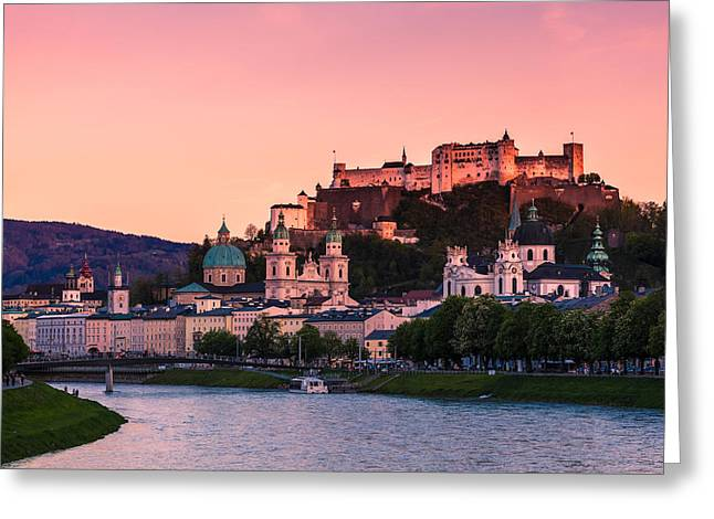 Afterglow Greeting Cards - Salzburg 01 Greeting Card by Tom Uhlenberg