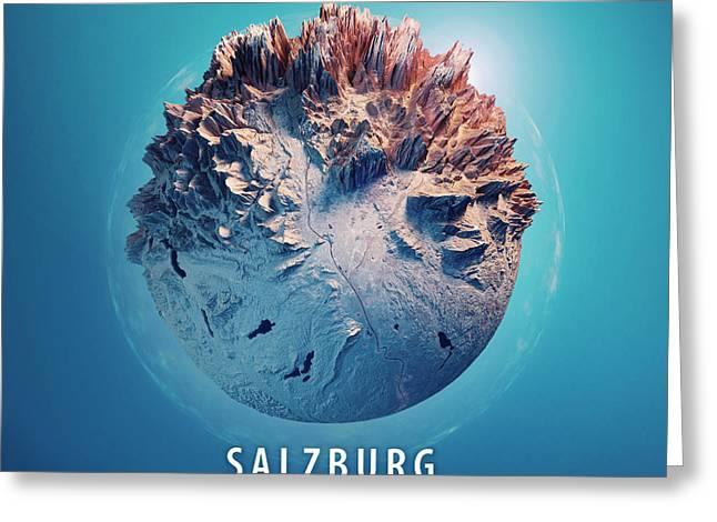 Salzburg 3d Little Planet 360-degree Sphere Panorama Blue Greeting Card