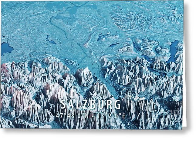 Salzburg 3d Render Satellite View Topographic Map Horizontal Blu Greeting Card