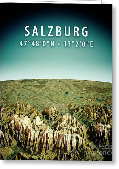 Salzburg 3d Render Satellite View Topographic Map Vertical Greeting Card