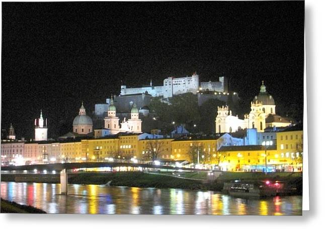 Salzburg At Night Greeting Card by Betty Buller Whitehead