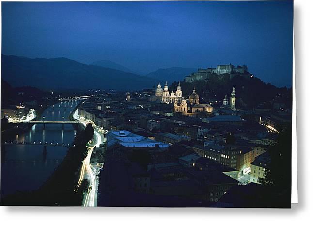 Salzburg, Austria, Night View Greeting Card