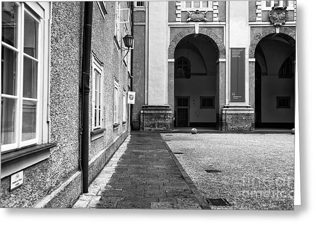 Salzburg Courtyard Lines Greeting Card by John Rizzuto