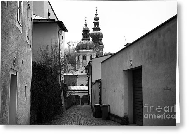 Salzburg Domes In The Distance Greeting Card by John Rizzuto