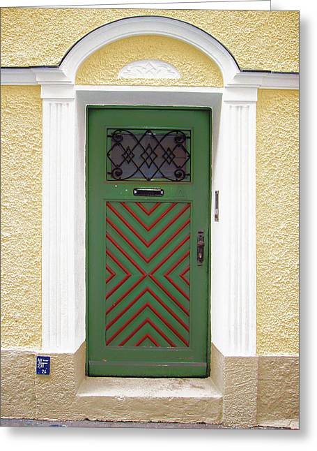 Salzburg Door Greeting Card by Derek Selander