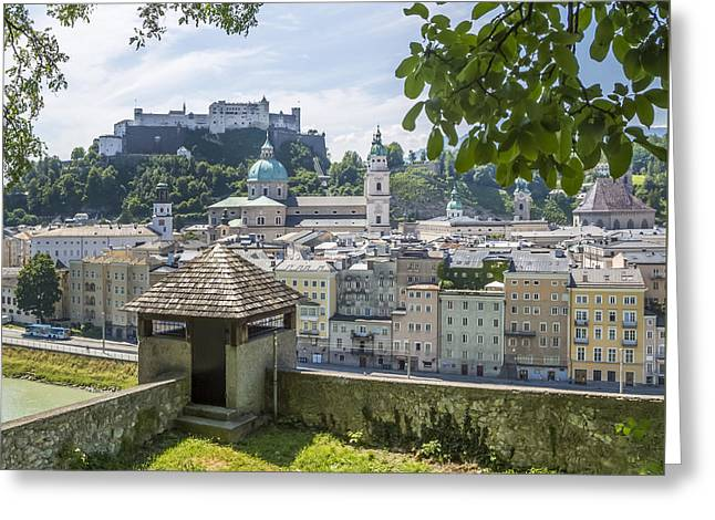 Salzburg Gorgeous Old Town With Citywall Greeting Card by Melanie Viola