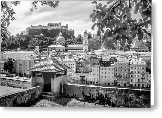 Salzburg Gorgeous Old Town With Citywall Monochrome Greeting Card by Melanie Viola