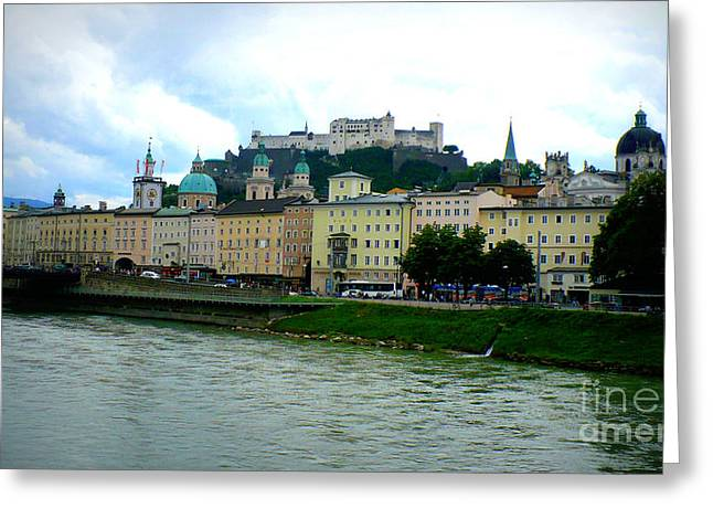 Salzburg Over The Danube Greeting Card by Carol Groenen