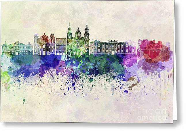 Salzburg Skyline In Watercolor Background Greeting Card by Pablo Romero