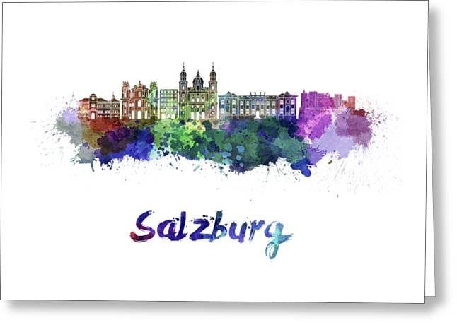 Salzburg Skyline In Watercolor Greeting Card by Pablo Romero