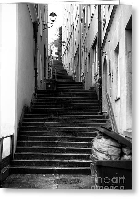 Salzburg Stairs Mono Greeting Card by John Rizzuto