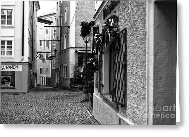 Salzburg Street Angles Mono Greeting Card by John Rizzuto