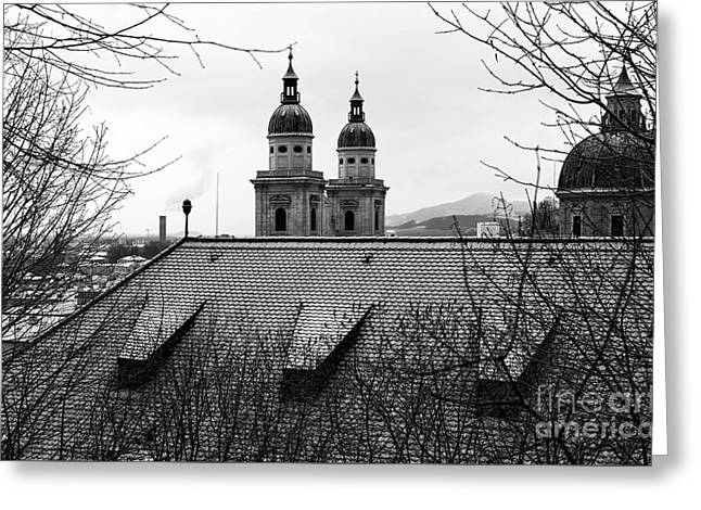 Salzburg Towers Through The Trees Greeting Card by John Rizzuto