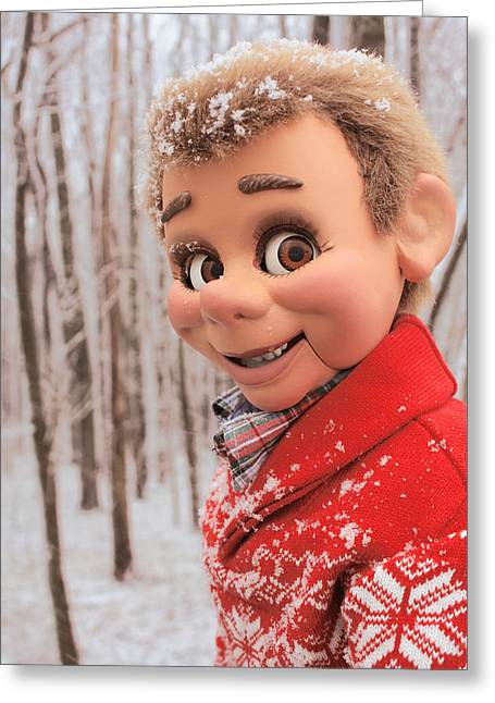 Sam The Dummy Snow Day Greeting Card by Brent Vernon