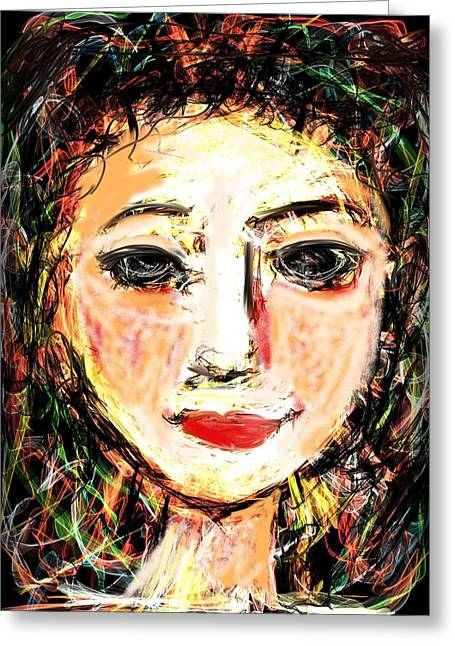 Greeting Card featuring the digital art Samantha by Elaine Lanoue