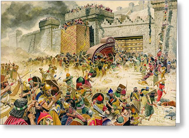 Archer Greeting Cards - Samaria falling to the Assyrians Greeting Card by Don Lawrence