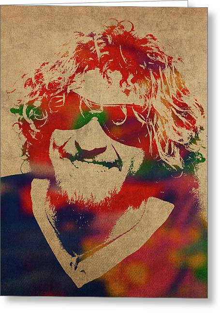 Sammy Hagar Van Halen Watercolor Portrait Greeting Card