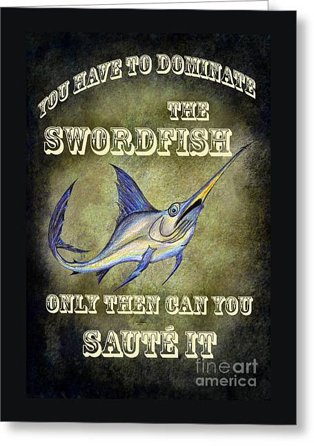 Sammy The Swordfish Greeting Card by Bruce Stanfield