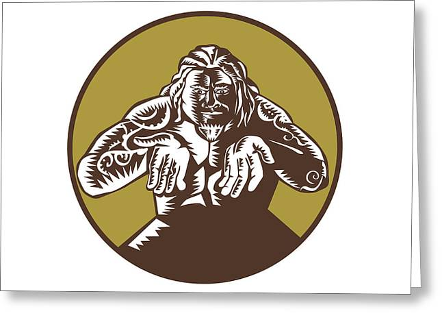 Samoan God Tagaloa Arms Out Circle Woodcut Greeting Card