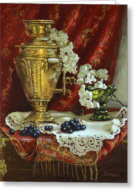 Samovar And Cherry Blossoms Greeting Card