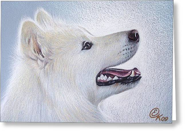 Samoyed Greeting Card by Elena Kolotusha