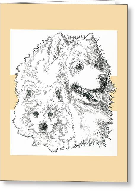 Samoyed Father And Son Greeting Card by Barbara Keith