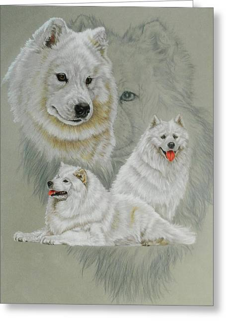 Samoyed With Ghost Greeting Card by Barbara Keith