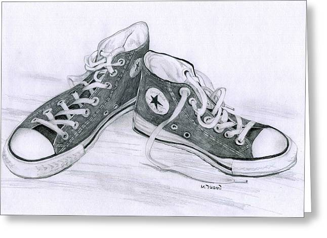 Sam's Shoes Greeting Card by Mary Tuomi