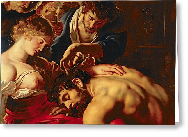Peter Paul (1577-1640) Greeting Cards - Samson and Delilah Greeting Card by Rubens